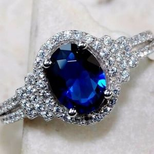 3CT Blue Sapphire & Topaz, Silver 925 Ring Size 6